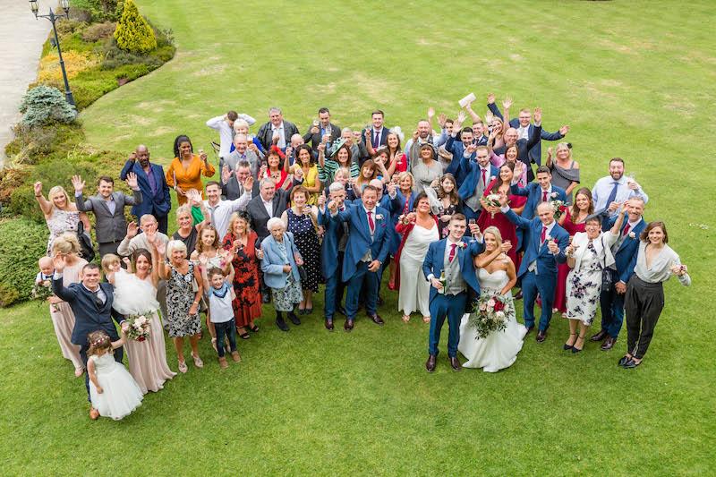 Blythe wedding 2019 wedding party aerial shot