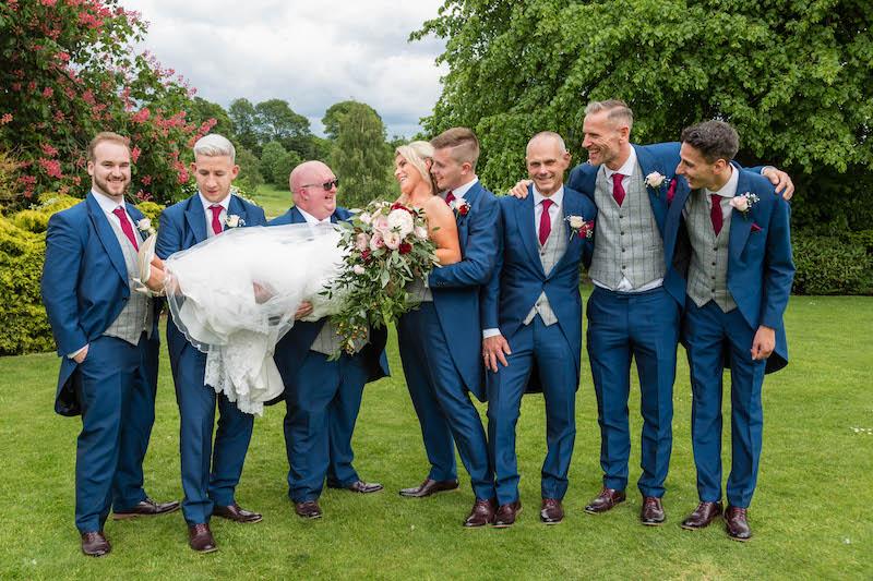 Blythe wedding 2019 wedding party aerial groomsmen and bride