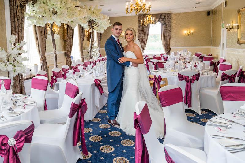 Blythe wedding 2019 wedding party aerial groom and bride