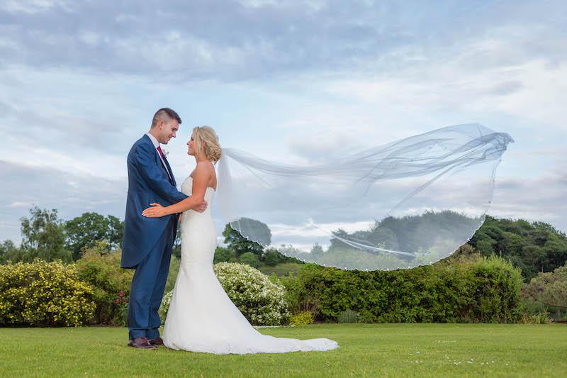 Blythe wedding 2019 Bride and Groom Veil in wind