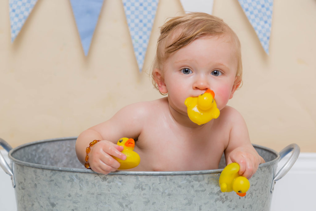 Baby in a tin bath during a photoshoot in West Yorkshire