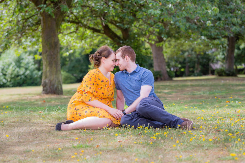 Couple in a romantic pose during a photoshoot in West Yorkshire