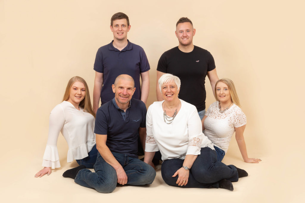 Studio photoshoot for a large family in west Yorkshire