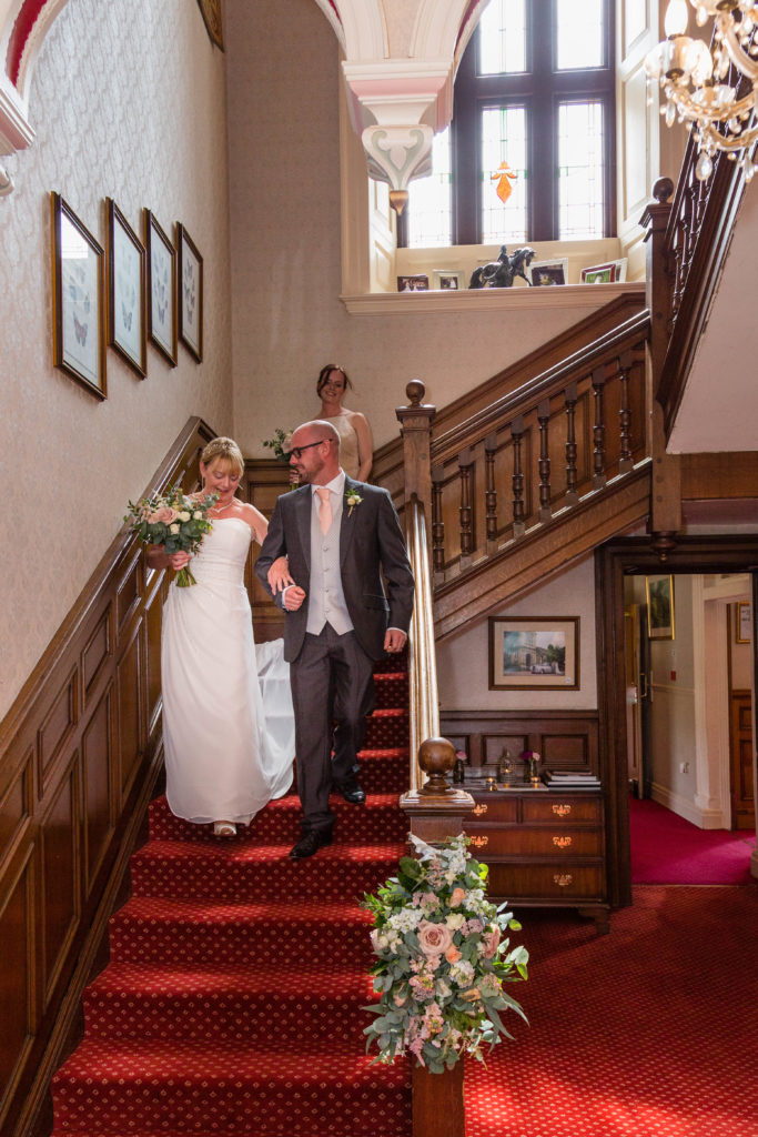 Bagden Hall Hotel Grand Staircase wedding party