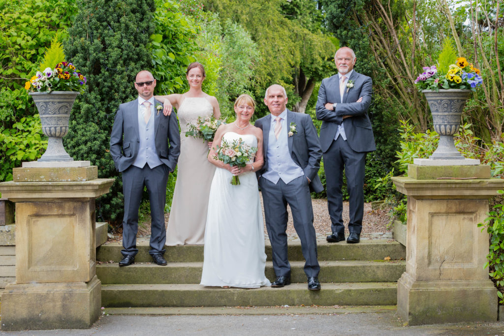 Formal wedding party photograph